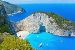 De mening van de hoogte van het baaiwrak van Zakynthos in Griekenland Stock Foto