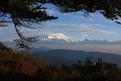 De mening van de Kanchenjungaberg met bomen en huis Stock Foto