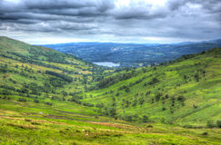 De mening van de Kirkstonepas naar Grasmere door Kirkstone van het Pass het District Engeland het UK Herbergenmeer in HDR Stock Foto
