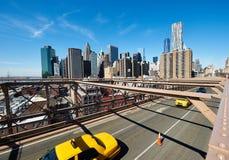 De mening van de Lower Manhattanhorizon van de Brug van Brooklyn Stock Fotografie