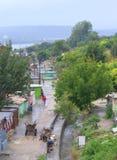 De mening van de Maksudakrottenwijk, Varna Bulgarije Stock Fotografie