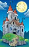 De mening van de nacht over groot kasteel op heuvel royalty-vrije illustratie