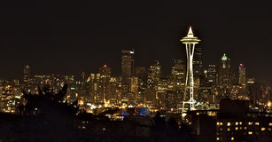 De Mening van de nacht over Seattle de stad in Royalty-vrije Stock Fotografie