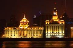 De mening van de nacht van de dijk van Shanghai Royalty-vrije Stock Foto