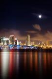 De mening van de nacht van de horizon van Miami stock fotografie