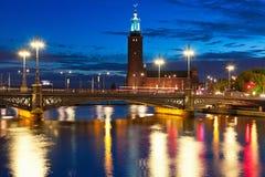 De mening van de nacht van de Oude Stad in Stockholm, Zweden stock afbeeldingen