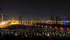De Mening van de nacht van Doubai Stock Afbeeldingen