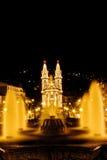 De mening van de nacht van een kerk van Cristian in Guimaraes stad Royalty-vrije Stock Foto