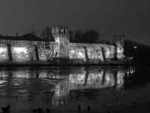 De mening van de nacht van Klooster Novodevichy. Royalty-vrije Stock Foto's