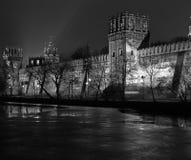 De mening van de nacht van Klooster Novodevichy. Stock Foto