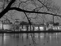 De mening van de nacht van Klooster Novodevichy. Stock Fotografie