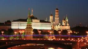 De mening van de nacht van Moskou het Kremlin stock video