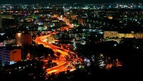 De mening van de nacht van Pattaya stad, Thailand Royalty-vrije Stock Foto