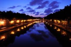 De mening van de nacht van Ponte Sisto Royalty-vrije Stock Fotografie