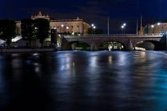 De mening van de nacht van Stockholm stock fotografie