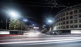 De mening van de nachtstad van Kiev Stock Afbeelding
