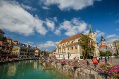 De mening van de oude stad Annecy frankrijk Stock Foto's