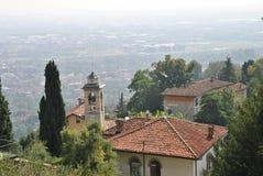 De mening van de oude stad Bergamo Stock Foto