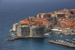 De mening van de prentbriefkaar van Dubrovnik Royalty-vrije Stock Afbeelding