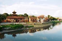 De Mening van de Rivier van Katmandu Stock Foto's