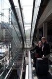 De Mening van de roltrap van binnenuit Gare DE l'Est, Parijs Stock Afbeelding