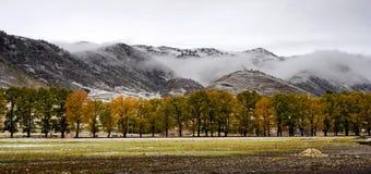 De mening van de sneeuw van tibetan dorp bij shangri-La China Stock Afbeeldingen