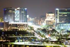 De Mening van de stad bij Nacht Royalty-vrije Stock Afbeeldingen