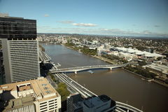 De mening van de Stad en van de Rivier van Brisbane Royalty-vrije Stock Afbeeldingen
