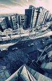 De mening van de stad in fisheye Royalty-vrije Stock Fotografie