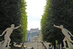 De mening van de stad ot de Hohensalzburg-vesting, Salzburg is de volledigste vesting van de middeleeuwse tijden verlaten in Euro royalty-vrije stock afbeeldingen