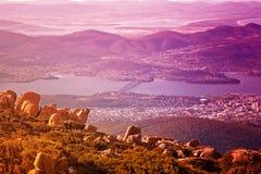 De mening van de stad van Hobart, zet Wellington op Royalty-vrije Stock Afbeelding