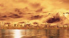 De mening van de stadshorizon van water bij de tijdspanne van de zonsondergangtijd 4K stock video