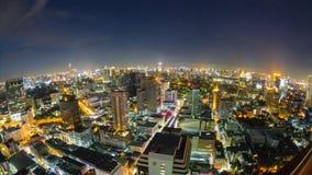 De mening van de tijdtijdspanne van de horizon van Bangkok bij nacht thailand stock footage
