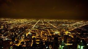 De Mening van de tijdtijdspanne van de Horizon van Chicago bij Nacht - 4K - 4096x2304 stock videobeelden