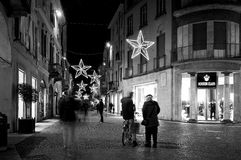 De mening van de Vigevanonacht, Kerstmistijd De Zwart-witte foto van Peking, China Royalty-vrije Stock Fotografie