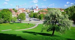 De mening van de Vilniusstad van heuvels aan de oude en nieuwe stad stock foto