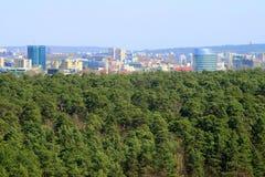 De mening van de Vilniusstad van Neris-rivierraad in Lazdynai-district stock foto