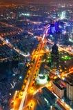 De mening van de vogel in Shanghai China Wolkenkrabber in aanbouw in voorgrond Royalty-vrije Stock Afbeelding