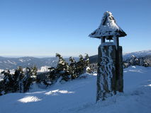 De mening van de winter in een sneeuwklokketoren Royalty-vrije Stock Foto's