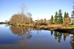 De Mening van de winter van een rivier die met het overzees verbindt Stock Foto