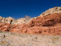 De Mening van de woestijn met dramatisch rood rots uit gewas Royalty-vrije Stock Foto's