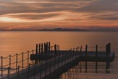 De mening van de zonsondergang in Thailand Stock Afbeelding