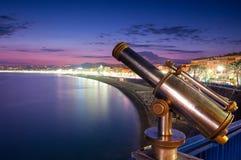 De mening van de zonsondergang van de stadskust van Nice. Stock Afbeelding