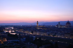 De mening van de zonsondergang van Florence Stock Foto