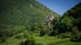 De mening van eenzame castel Annecy frankrijk Stock Afbeelding