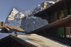 De mening van Eiger-het noordenmuur (Matrijs eiger-Nordwand) van MÃ ¼ rren Stock Foto's