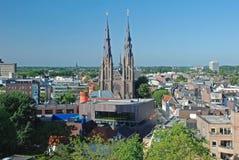 De Mening van Eindhoven de stad in - Nederland - van hoogte Royalty-vrije Stock Afbeeldingen