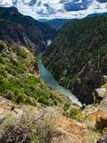De Mening van de Gunnisonrivier, Zwarte Canion, Colorado royalty-vrije stock fotografie