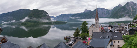 De mening van Hallstatt, Oostenrijk stock foto