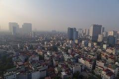 De mening van Hanoi van de hemel in ochtend Stock Afbeelding